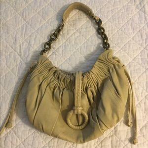 BCBGMAXAZRIA ruched hobo bag leather purse beige